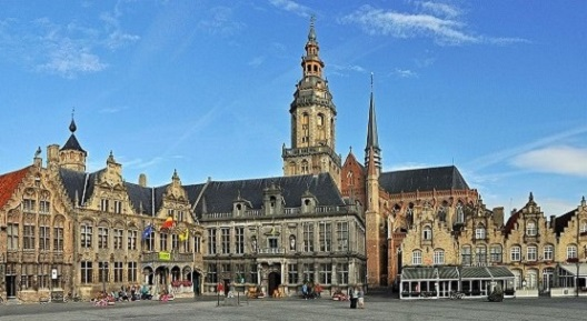 The Grote Markt in Veurne today and...